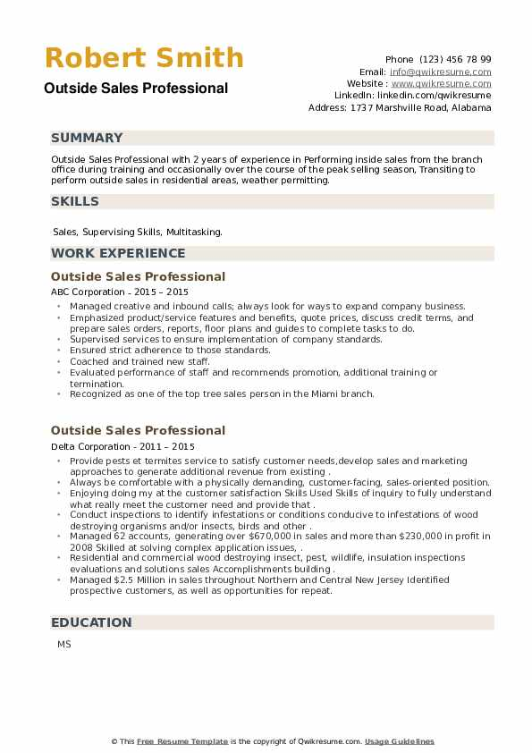 Outside Sales Professional Resume example