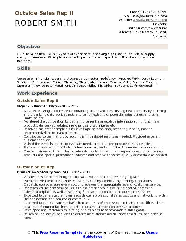Outside Sales Rep Resume Samples Qwikresume