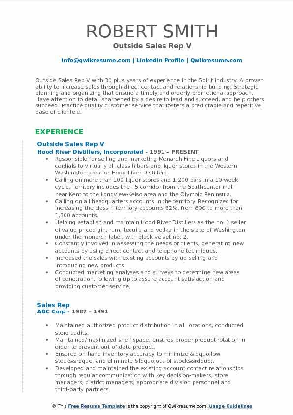 Outside Sales Rep V Resume Model