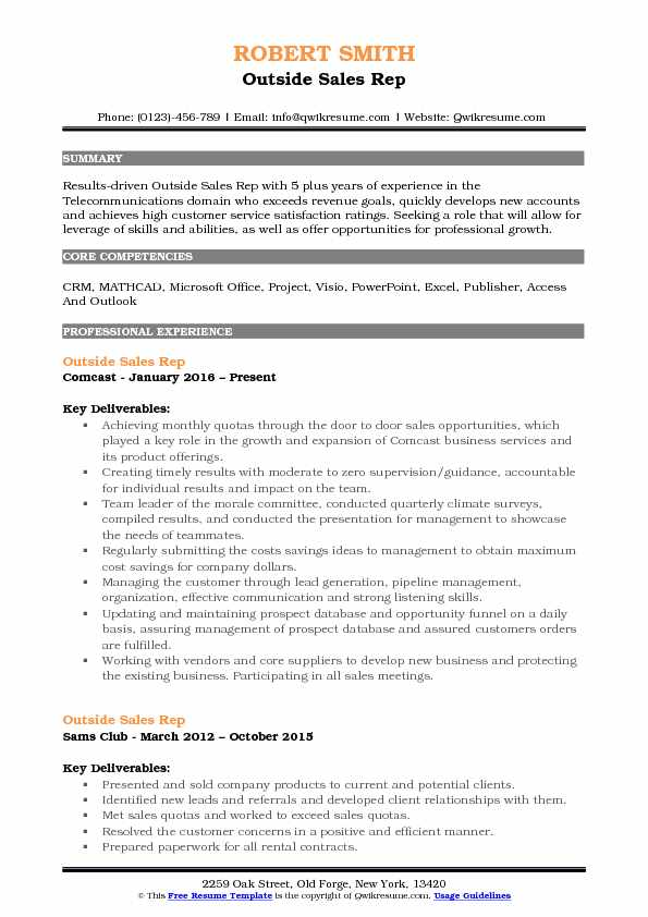 outside sales rep resume samples