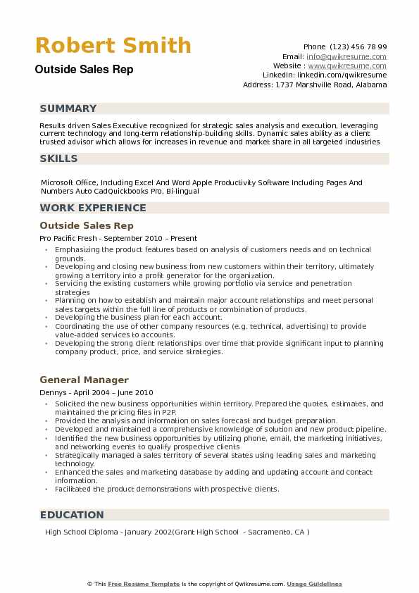 outside sales resume sample
