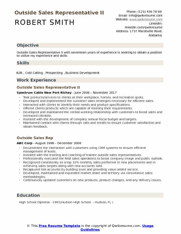 Outside Sales Representative II Resume Example