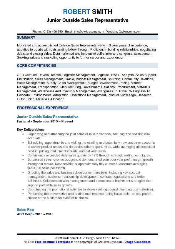 Junior Outside Sales Representative Resume Format