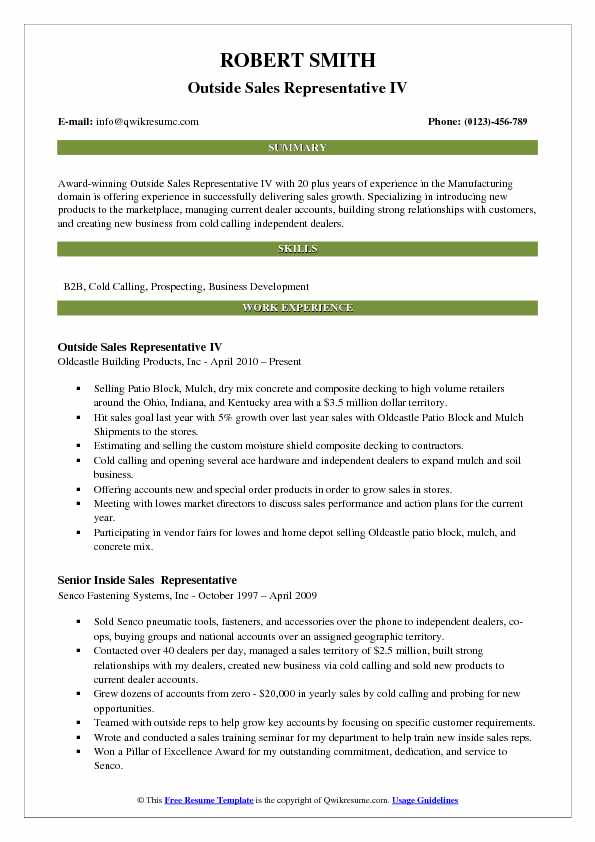 Outside Sales Representative IV Resume Template