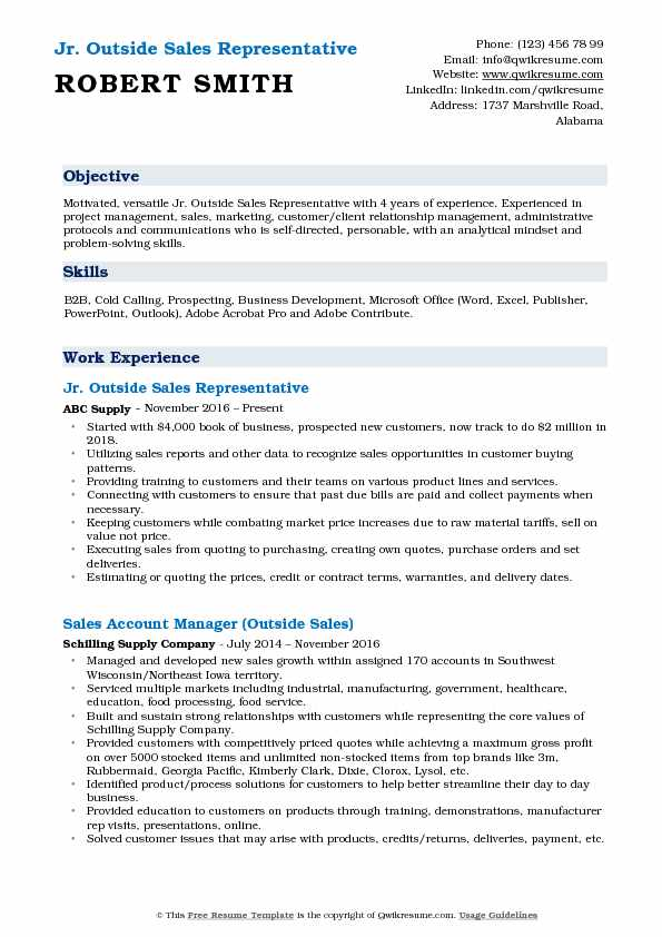Jr. Outside Sales Representative Resume Sample