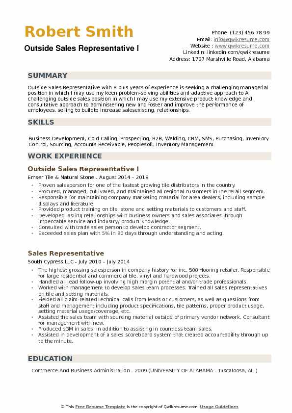 Outside Sales Representative Resume example