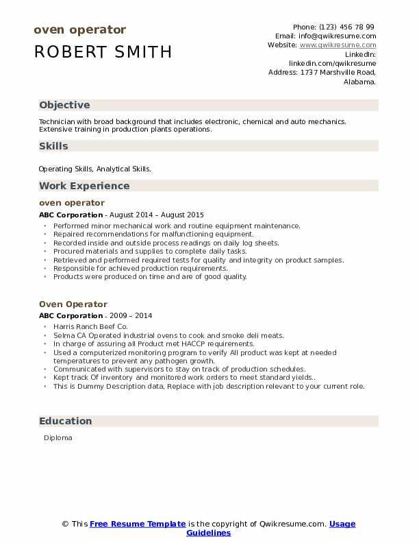 Oven Operator Resume example