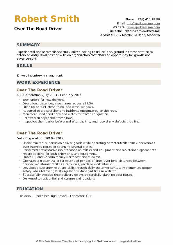 Over The Road Driver Resume example