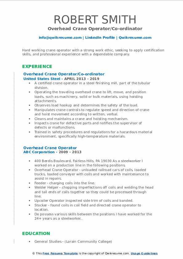 Overhead Crane Operator/Co-ordinator Resume Format
