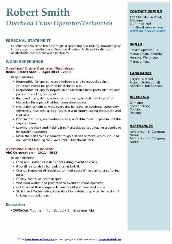 Overhead Crane Operator/Technician Resume Example