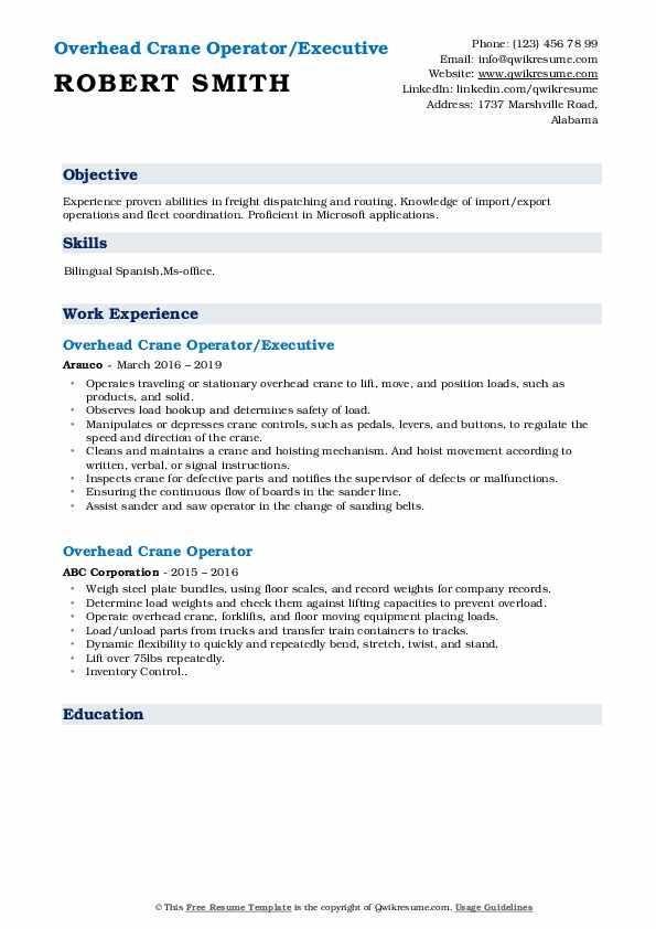 Overhead Crane Operator/Executive Resume Format