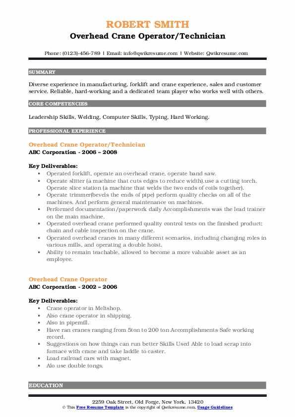 Overhead Crane Operator/Technician Resume Sample