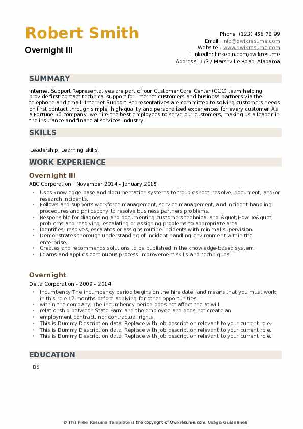 Overnight Resume example