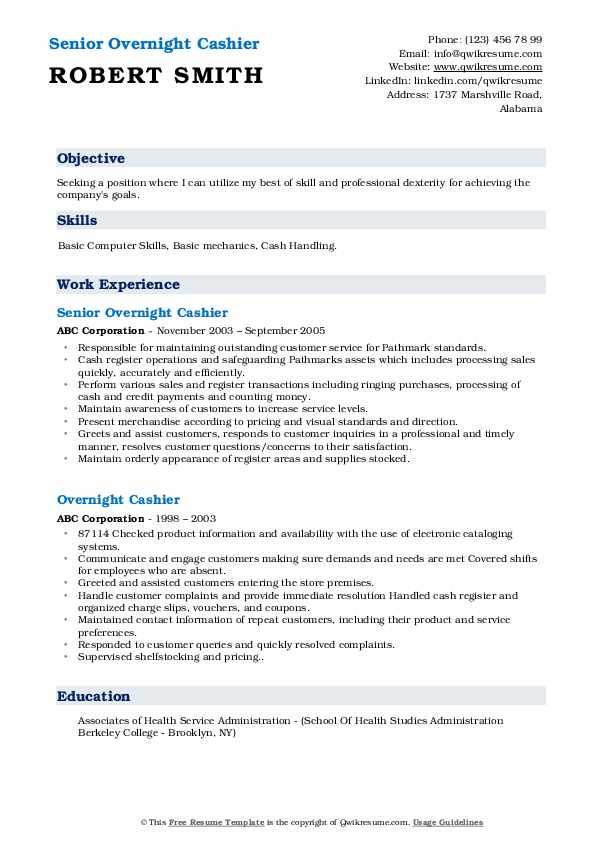 Overnight Cashier Resume Samples | QwikResume