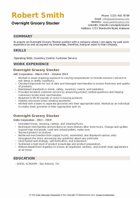 Overnight Grocery Stocker Resume example