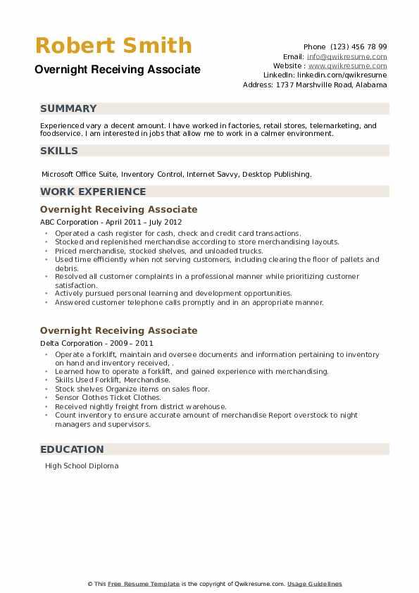Overnight Receiving Associate Resume example