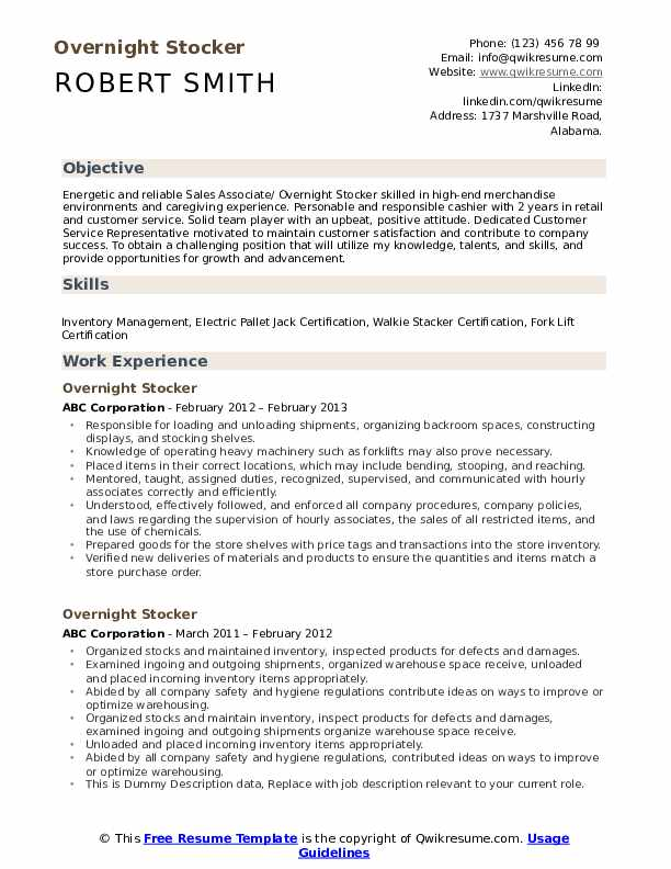 Overnight Stocker Resume Samples Qwikresume