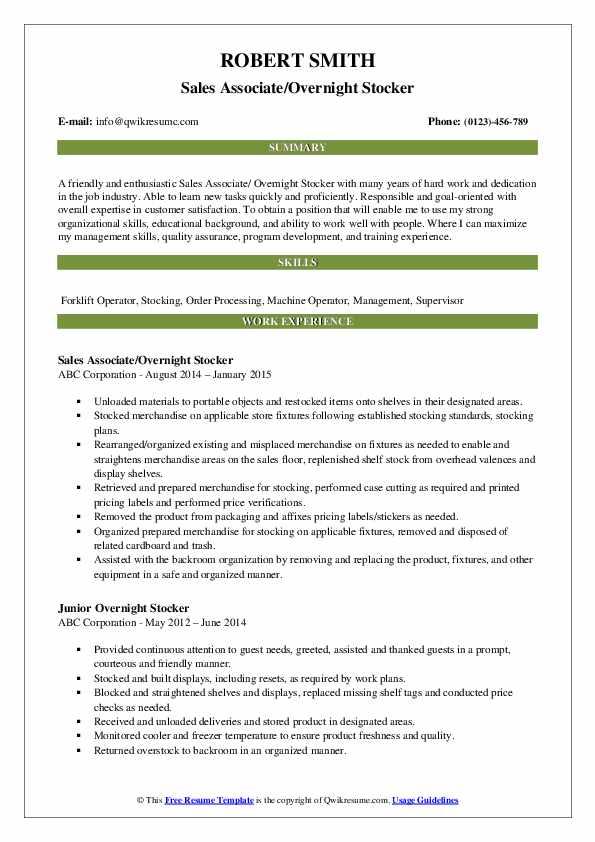 Overnight Stocker Resume Samples Qwikresume