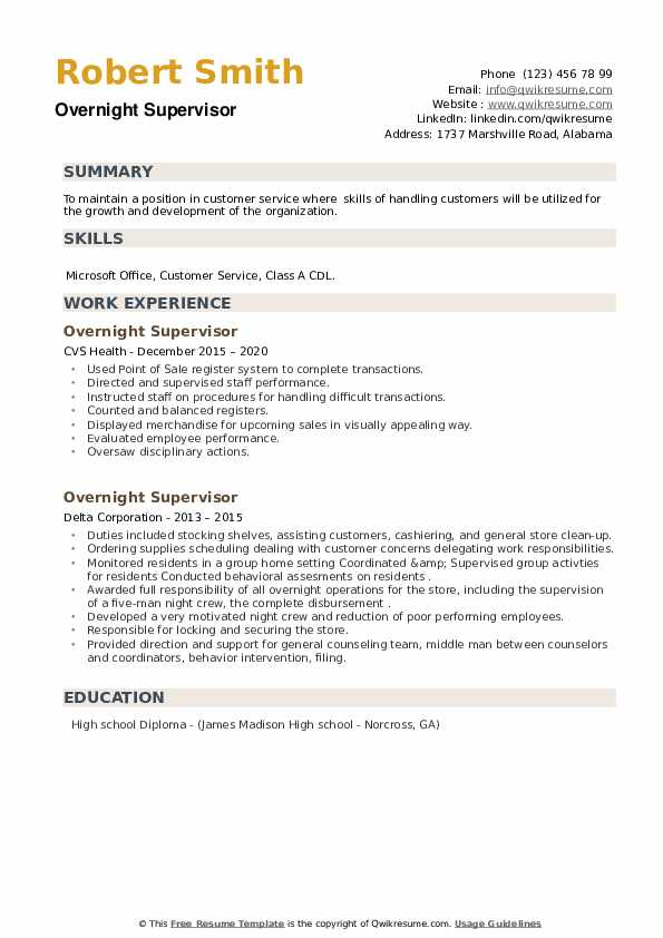 Overnight Supervisor Resume example