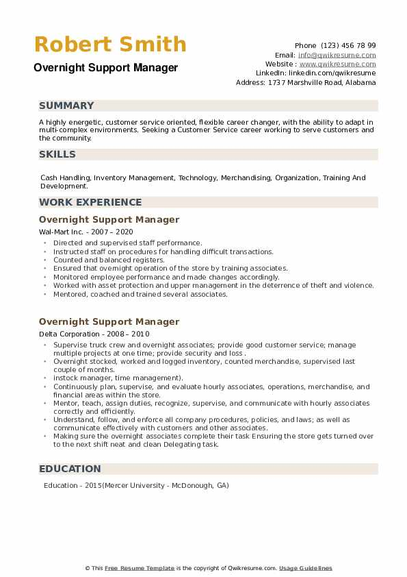 Overnight Support Manager Resume example