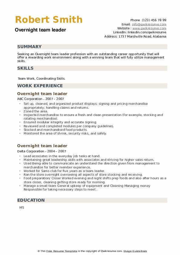 Overnight team leader Resume example