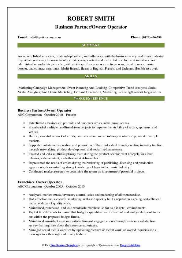owner operator resume samples
