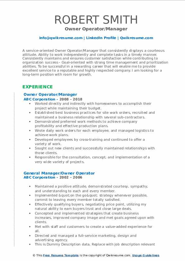 Owner Operator/Manager Resume Template