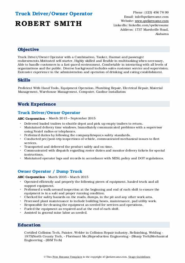 Owner Operator Resume Samples Qwikresume