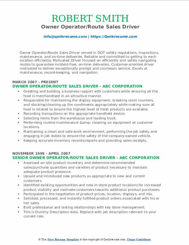 Owner Operator/Route Sales Driver Resume Model