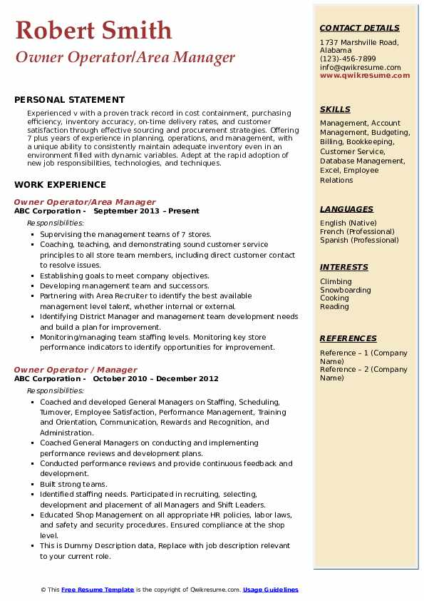 Owner Operator/Area Manager Resume Template