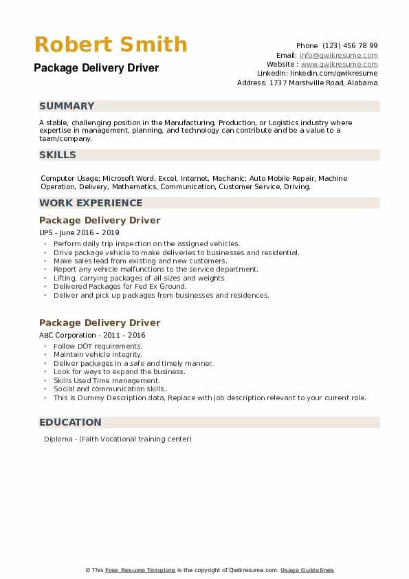 package delivery driver resume samples  qwikresume