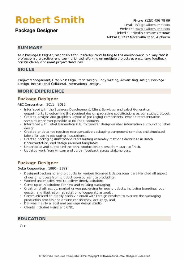 Package Designer Resume example