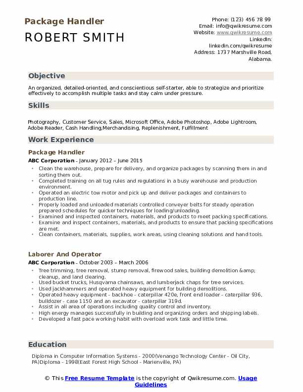 Package Handler Resume Template