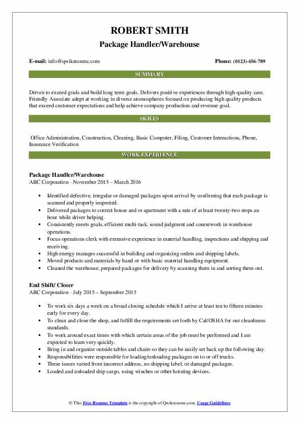 Package Handler/Warehouse Resume Example
