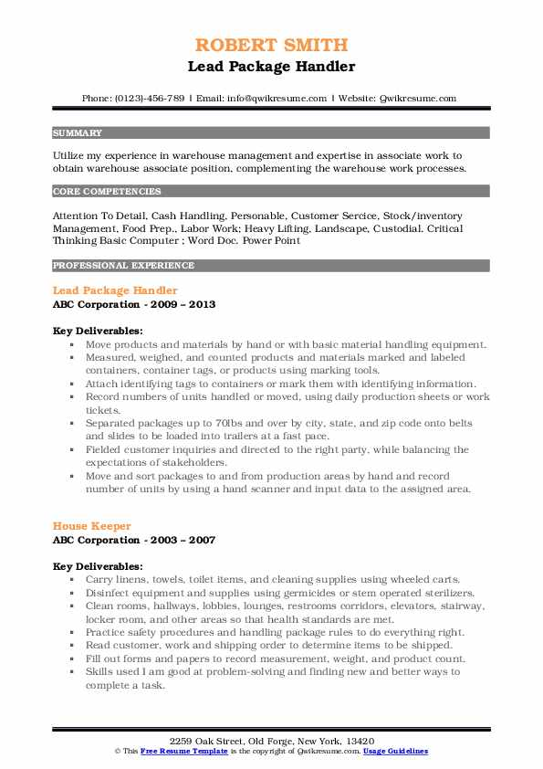 Package Handler Resume Samples Qwikresume