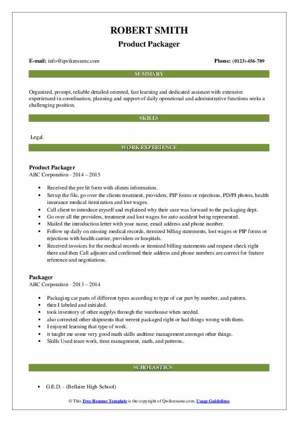 Product Packager Resume Example