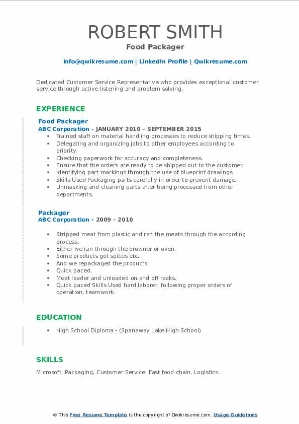 Food Packager Resume Format