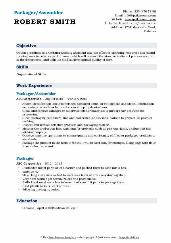 Packager/Assembler Resume Sample