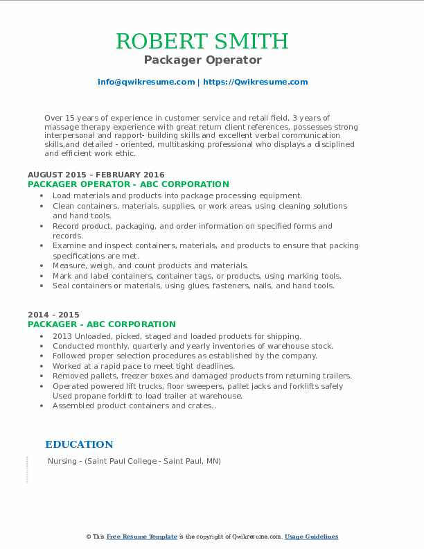 Packager Operator Resume Format