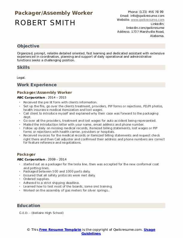 Packager/Assembly Worker Resume Model