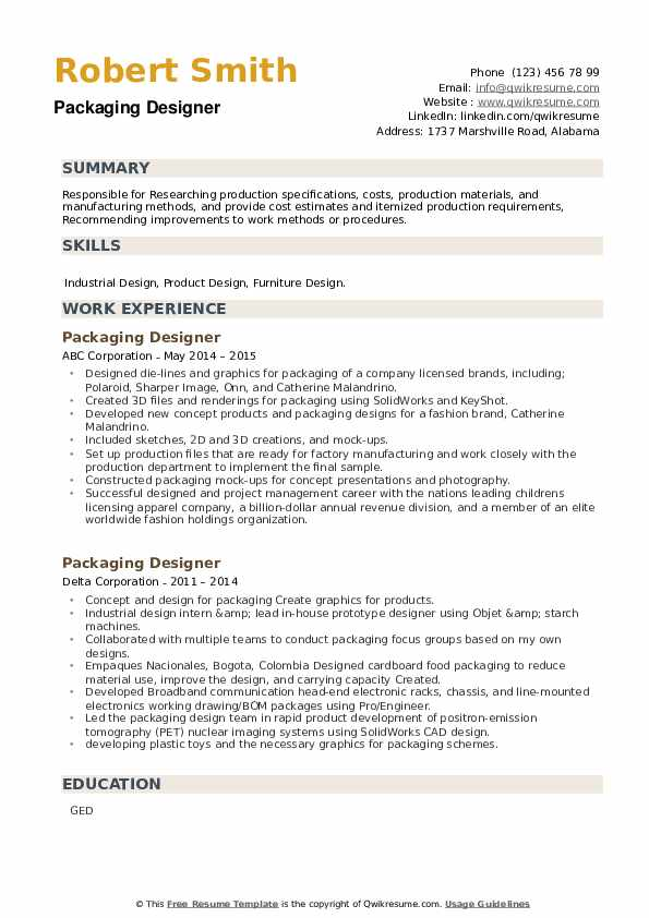Packaging Designer Resume example