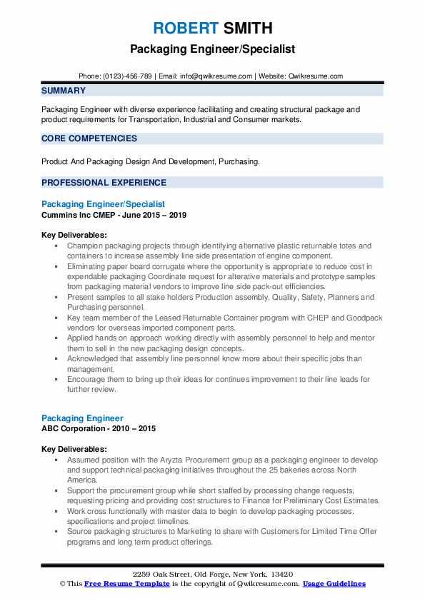 Packaging Engineer/Specialist Resume Template