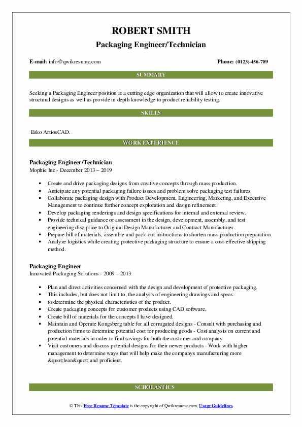 Packaging Engineer/Technician Resume Format