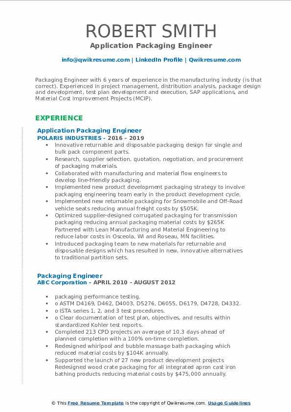 Application Packaging Engineer Resume Format