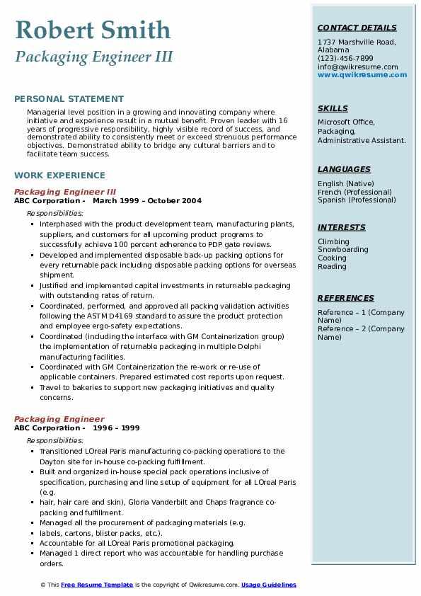 Packaging Engineer III Resume Model