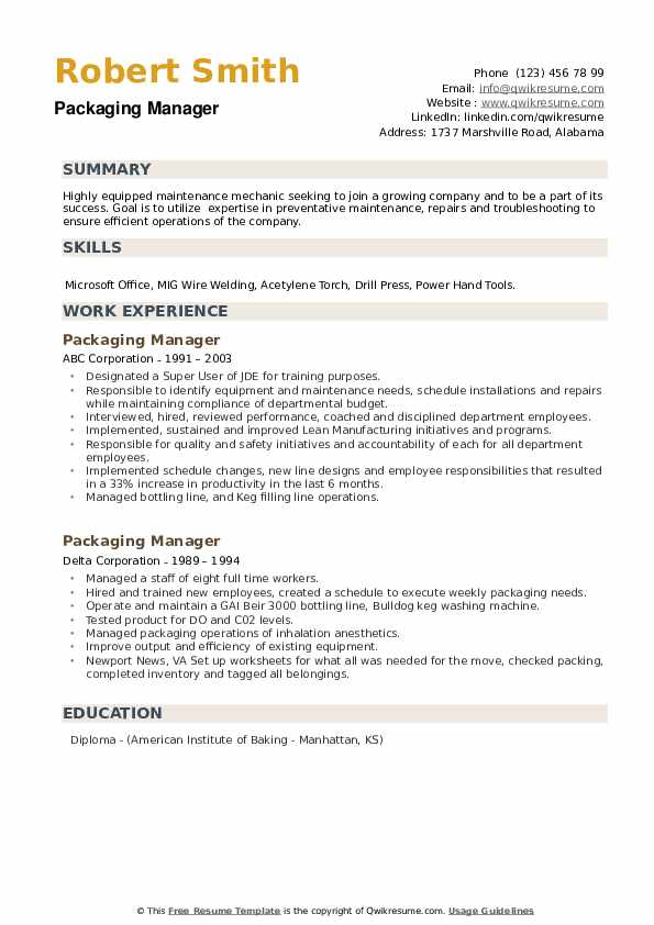 Packaging Manager Resume example