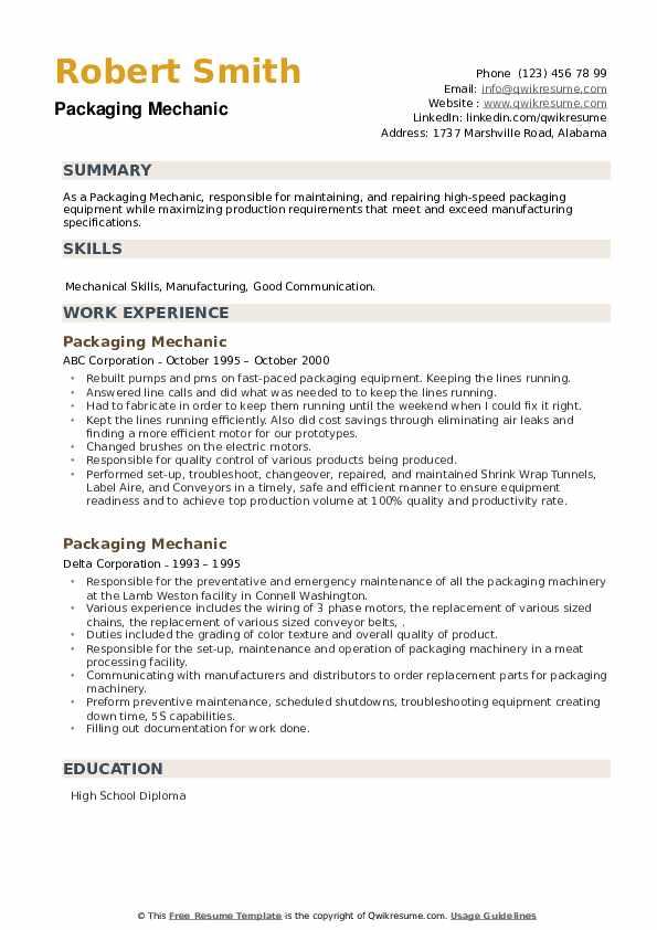Packaging Mechanic Resume example