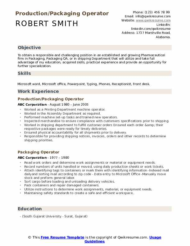Production/Packaging Operator Resume Sample