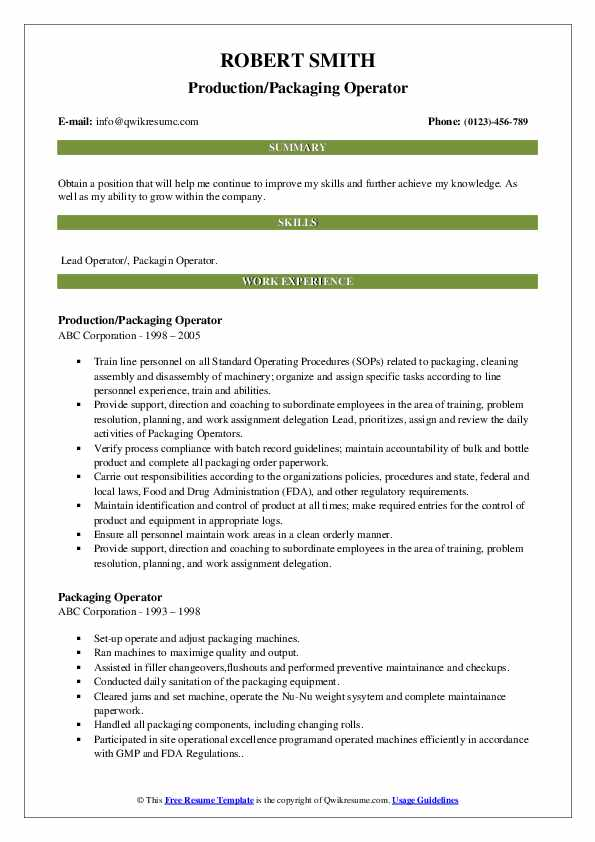 Production/Packaging Operator Resume Format