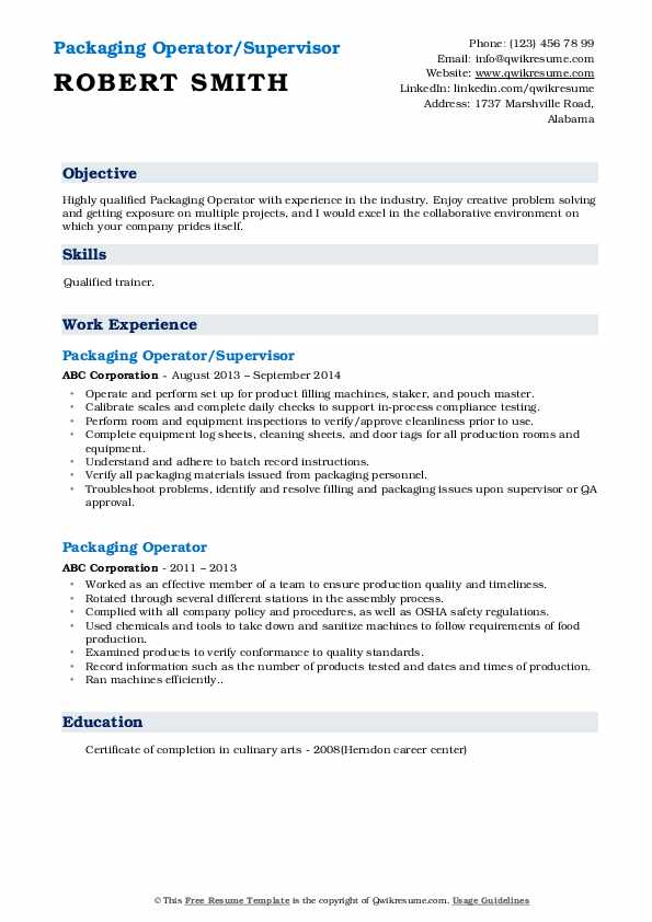 packaging operator resume samples